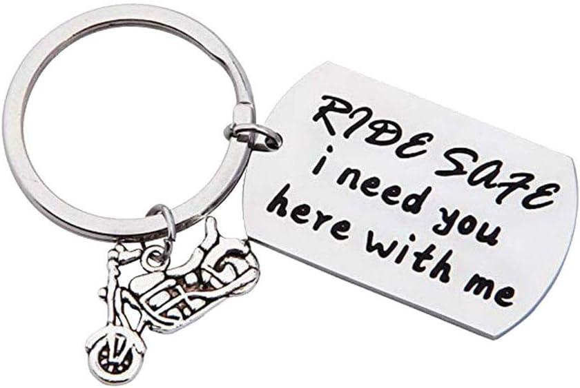 AchidistviQ Ride Safe Buchstaben Edelstahl Anh/änger Schl/üsselanh/änger Unisex KFZ Schl/üssel Kette Geschenk 1#