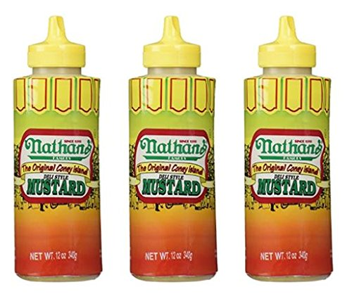 Hot Dog Mustard - Nathan Coney Island Mustard, Squeeze Bottle, 12-ounce (Pack of 3)