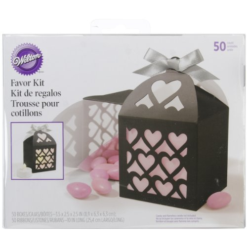 Wilton 1006-4042 Paper Lantern Black Favor Box, 50 Count