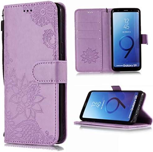 あなたの携帯電話を保護する カードスロット&ホルダー&財布&ストラップ付き、ヴィンテージエンボス花柄レースの花柄の水平フリップレ