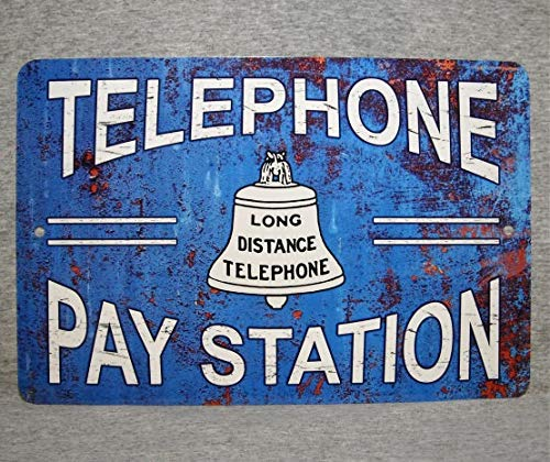 (SWQAA Metal Sign Telephone Pay Station Public Coin Vintage Replica Phone Booth Prop Rotary Push Button Garage Man cave Plaque Aluminum 8