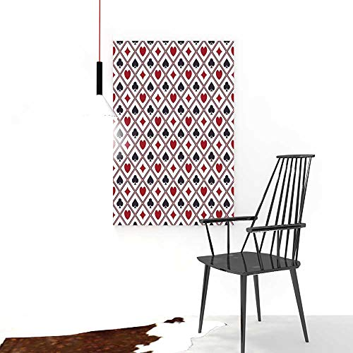 Auraise-home Color Wall Art Painting FramelessSeamless Poker Casino or Gambling Texture with Card Suits Hotel Office Decor Gift Piece W24 x H32]()