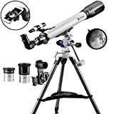 Telescope 70EQ Refractor Telescope Scope – 70mm Aperture and 700mm Focal Length, Multi-Layer Green Film, with Digiscoping Adapter for Photography