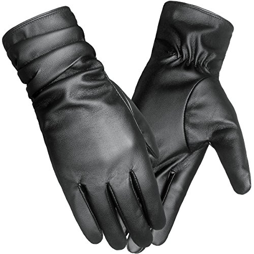LETHMIK Winter Faux Leather Gloves Womens Driving Touchscreen Texting with Long Wrinkle Sleeves Black-M (Women Leather Gloves Touch Screen)
