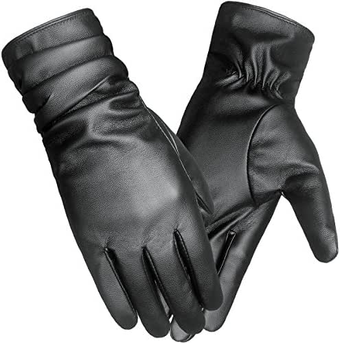 LETHMIK Winter Faux Leather Gloves Womens Driving Touchscreen Long Wrinkle Sleeves