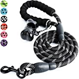 Toozey 5 FT Dog Leash, Rope Leash with Comfortable Padded Handle and Reflective Threads, Heavy Duty Braided Leash for Medium Large Dogs, Black