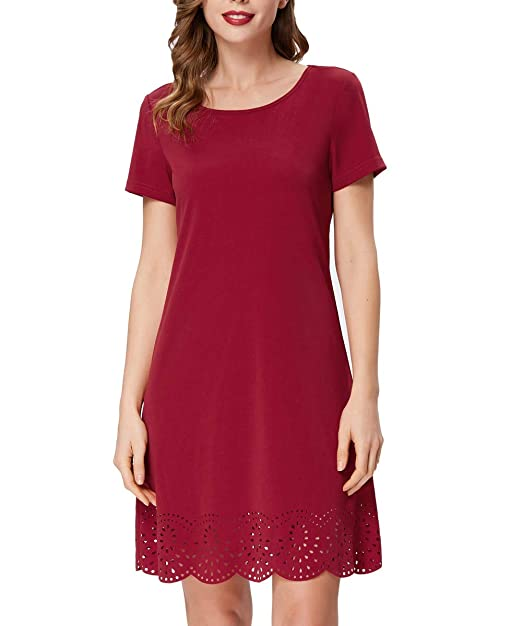 0066b4095aefe GRACE KARIN Women's Short Sleeve Casual A-Line Mini Party Dress Size S Wine  Red