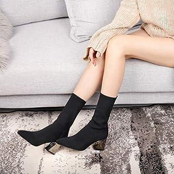 Shukun Botines Calcetines Botas Stretch Boots Botas de Punto de Mujer Botas Cortas de Espesor con Tacones Altos Modelos de otoño e Invierno Martin Boots: ...