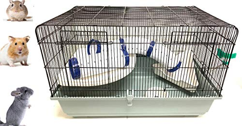 Large 2-Level Universal Small Animal Home Critter Habitat Cage for Wide Variety Exotics Animal Ferret Hamster Rat Mice Mouse Gerbil Guinea Pig Hedgehog Chinchillas