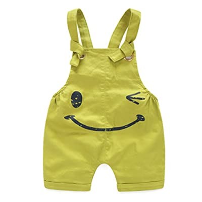 Oushiny Unisex Kids' Cotton Bib Overall Kids' Cute Dungarees 4 Colors For 0-6