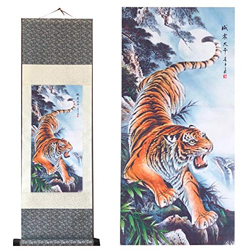 Scroll Wall Art Painting - UNIQUELOVER Asian Silk Scroll & Home Decorate Tiger Picture Scroll & Wall Scroll Hanging Artwork Painting