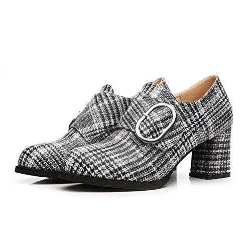 Calandre 37 Tte Noir paisse Ronde Le Printemps lgante Avec Profonde Mince Chaussures Bouche Simples Et Fminin ZxCTqxIw