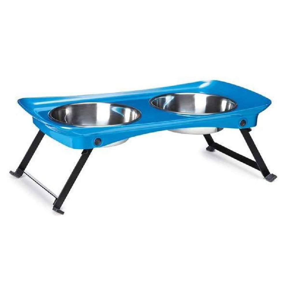Dog Diner Melamine & Stainless Steel Portable Raised Small Pet Feeder Diners