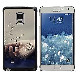 QCASE / Samsung Galaxy Mega 5.8 9150 9152 / Símbolo de la mano de vela mar nave océano ondas / Delgado Negro Plástico caso cubierta Shell Armor Funda Case Cover