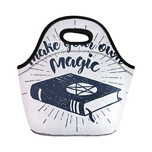 Semtomn Lunch Tote Bag Halloween Label Spells Book and Make Your Own Magic Reusable Neoprene Insulated Thermal Outdoor Picnic Lunchbox for Men -