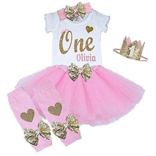 Bella Fashion Kidz Girl First Birthday Tutu Outfit Pink and Gold Personalized 1st Glitter Dress Set (12 Month, 5 Piece Set) -