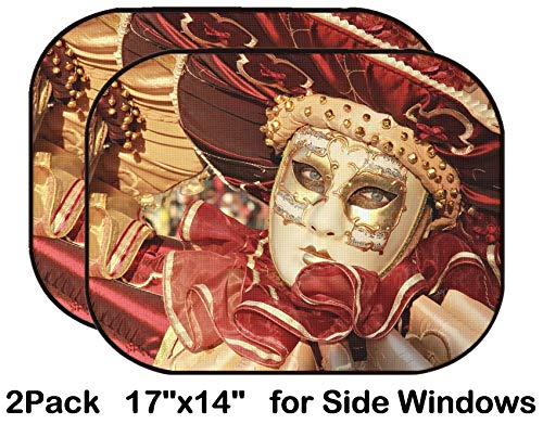 Liili Car Sun Shade for Side Rear Window Blocks UV Ray Sunlight Heat - Protect Baby and Pet - 2 Pack Close up of a Colourful mask in Gold and red with Music Score Venice Carnival Phot