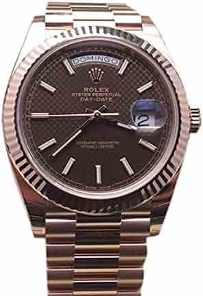 2a403e9bf27 Rolex Day-date 40mm Chocolate Diagonal Motif Dial Rose Gold Watch 228235