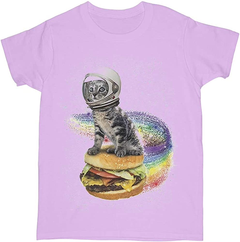 Womens Space Cat Cheeseburger T-Shirt The Greatest Things a Single Design Funny Cat Shirts