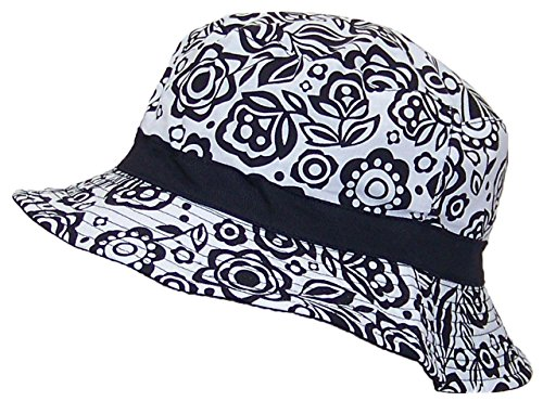 - Solid Wing Reversible Summer Floppy Bucket Hat W/Hawaiian Designs (One Size) - Black