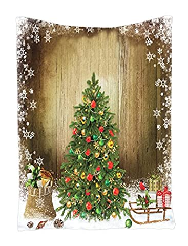 Christmas Tree Snow Flakes Red Ornaments Holiday Digital Printed Tapestry Wall Hanging, Wall Tapestry Living Room / Bedroom / Dorm Decor - One of a Kind - Machine Washable - Silky - Christmas Tree Tapestry