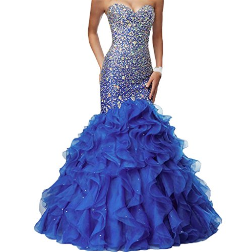 Crystals Long Mermaid Ruffles Beaded Sweetheart Corset Formal Prom Evening Dresses Royal Blue US 18W