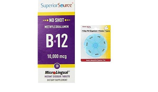 Amazon.com: Superior fuente No Shot metilcobalamina vitamina B12 comprimidos, 10.000 mcg, cuenta 30 con gratis 7 días plástico píldora organizadores: Health ...
