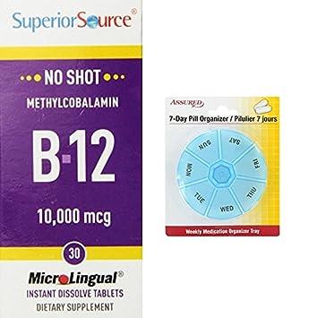Superior fuente No Shot metilcobalamina vitamina B12 comprimidos, 10.000 mcg, cuenta 30 con gratis