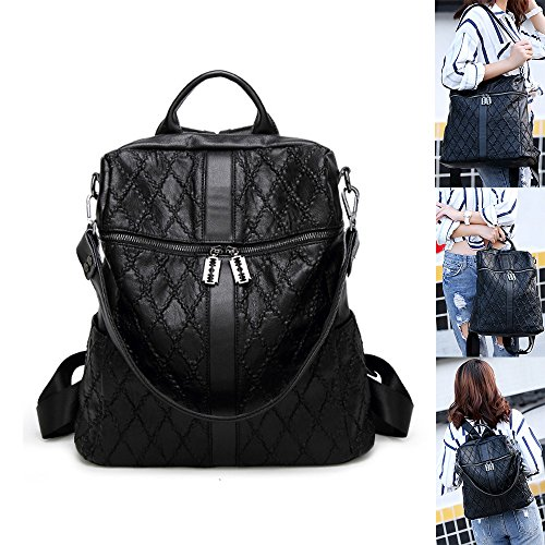 Capacity Women Genuine Leather Plaid Backpack 15 College 38 Shoulder Large Soft King Handbag Mimi Personalized Stitching Bag 34cm Black Pattern Travel 8Wwq5B4p