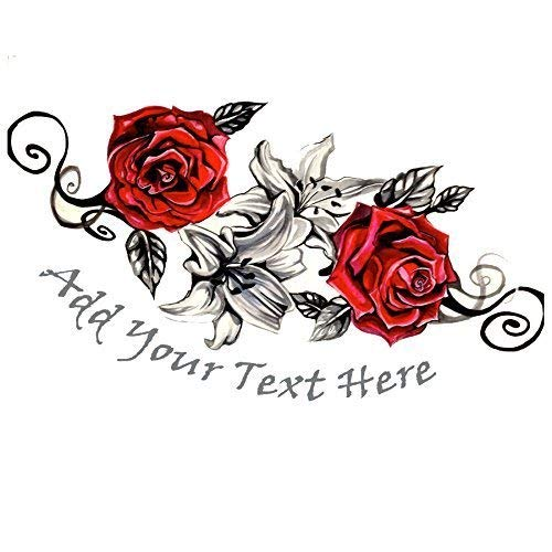 Amazon.com: Custom fake tattoo rose | Temporary removable customized ...