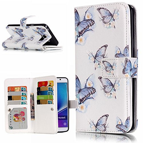 aeeque® Apple iPhone 5C/5S/6S/6(Plus), Samsung Galaxy S3/S4/S5/S6/S6edge/S6edge/Note 5, LG G4Stylus/K10Wallet Case Cover Portafoglio Custodia Borsa in ecopelle Blau Schmetterling Blumen Samsung