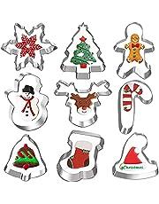 9 st julkakskärare, semesterkakskärare set med snöflinga, snögubbe, strumpa, renar, klocka, julgran, polkagris, julhatt för julfeststillbehör