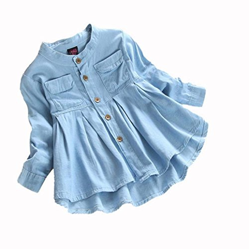 OCEAN-STORE Toddler Kid Baby Girls Denim Fashion Button Cotton Long Sleeve Lovely Comfortable T-Shirt Tops Blouse Clothing (3T, Blue)