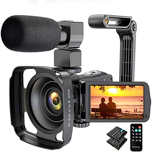Video Camera Camcorder 2.7K Ultra HD 36MP YouTube Camera for Vlogging, IR Night Vision 16X Digital Zoom Camera Recorder with Microphone Lens Hood Handheld Stabilizer Remote Control, 2 Batteries