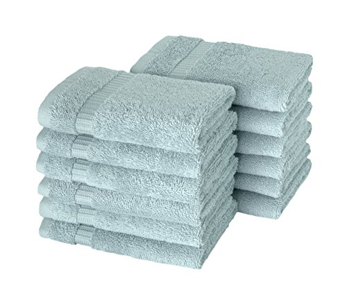 SALBAKOS Luxury Hotel & Spa Turkish Cotton 12-Piece Eco-Friendly Washcloth Set for Bath, 13 x 13 Inch, Seafoam - Resort Washcloth Collection