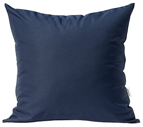 "TangDepot Durable Faux Silk Solid Pillow Shams, Euro Shams, European Throw Pillow Covers, Indoor/Outdoor Cushion Covers - (28""x28"", Navy Blue)"