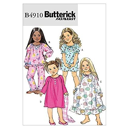 BUTTERICK PATTERNS B4910 Children's/Girls' Top, Shorts, Pants and Gown,  Size CDD (2-3-4-5)