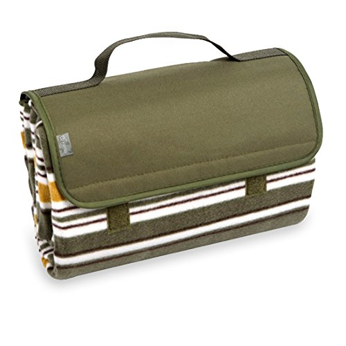 yodo Outdoor Water-Resistant Picnic Blanket Tote,Spring Summer Olive Stripe