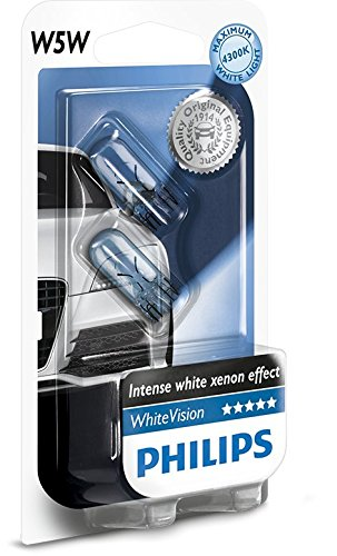 497 opinioni per Philips 12961NBVB2 WhiteVision Effetto Xenon W5W Lampada Auto, Blister Doppio