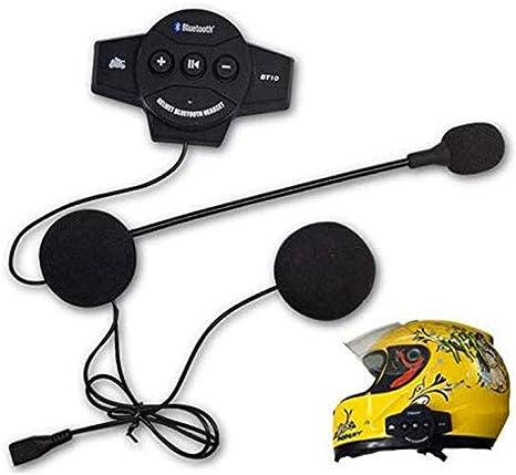 Bluetooth Intercom w//Remote Motorcycle Helmet Headset for Phone Navigation Music