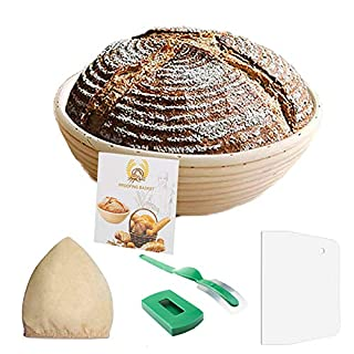 Eosray 9 Inch Handcraft Banneton Round Bread Proofing Basket include Free Recipe, Linen Liner Cloth, Dough Scraper, Bread Lame for Professional & Home Bakers Sourdough - 100% NATURAL RATTAN