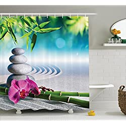 Ambesonne Spa Decor Collection, Sand Orchid and Massage Stones in Zen Garden Sunny Day Meditation Picture Print, Polyester Fabric Bathroom Shower Curtain Set, 75 Inches Long, Blue Gray Green Pink
