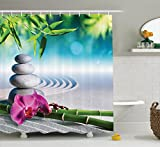 Ambesonne Spa Decor Shower Curtain, Sand Orchid and Massage Stones in Zen Garden Sunny Day Meditation Picture Print, Fabric Bathroom Decor Set with Hooks, 84 Inches Extra Long, Blue Gray Green Pink