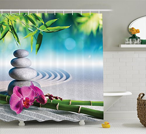 Spa Decor by Ambesonne, Sand Orchid and Massage Stones in Zen Garden Sunny Day Meditation Picture Print, Polyester Fabric Bathroom Shower Curtain Set with Hooks, Blue Gray Green Pink