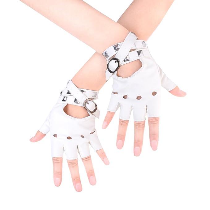 JISEN Sexy Women Punk rivets Belt Up Half Finger PU Leather Performance Gloves White