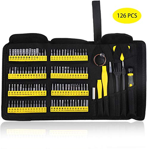 Precision Screwdriver Set with Magnetic Driver Kit, KER 126 in 1 Professional Electronics Repair Tool Kit for PC, Glasses, Mobile Phone, Laptop, iPhone, Watch, Tablet, iPad, MacBook with Portable Bag