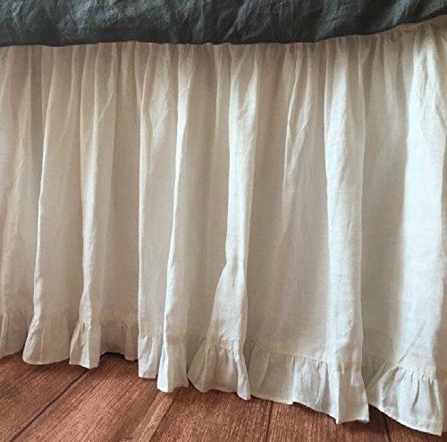 分割コーナーエッジ用フリル付きギャザーベッドスカートソリッドホワイト800スレッドカウントエジプト綿カリフォルニアキング( 72