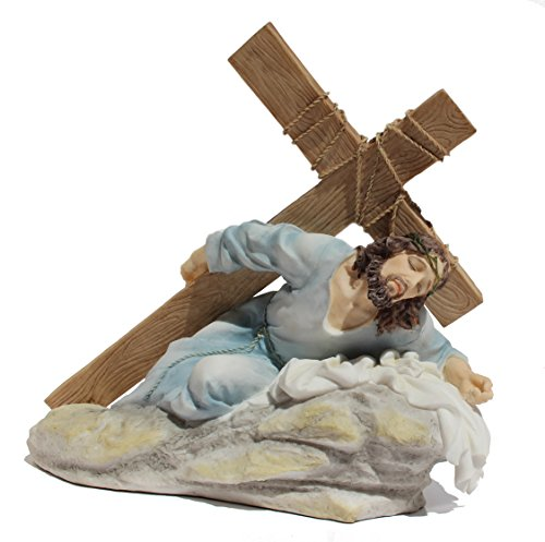 Jesus Christ on the Ground Carrying the Crucifix Light Color Polystone Statue Figurine ()