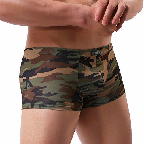 Low Mens Short Boxer Rise (YUFEIDA Sexy Men's Boxer Shorts Camouflage Low Rise Boxer Trunks (M))