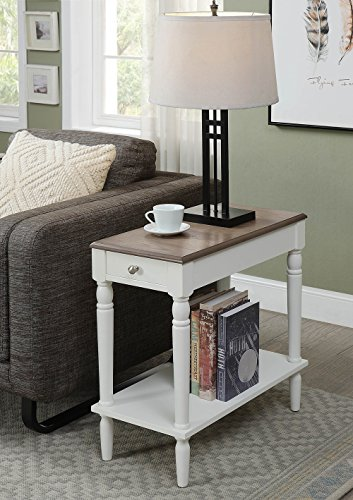 Convenience Concepts 6053210DFTW Chairside Table, Driftwood/White